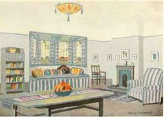 "An English Cottage Living Room in Modern Style. Decorative Scheme by Hall Thorpe, R.B.A., Furniture designed by Percy A. Wells. Executed by Oetzmann & Co., Ltd., all of London. Plate from ""The Practical Book of Furnishing the Small House and Apartment,"" by Edward Stratton Holloway, 1922"