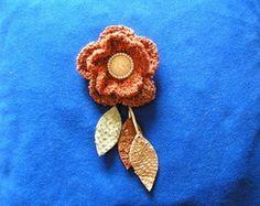 flor broche de crochet