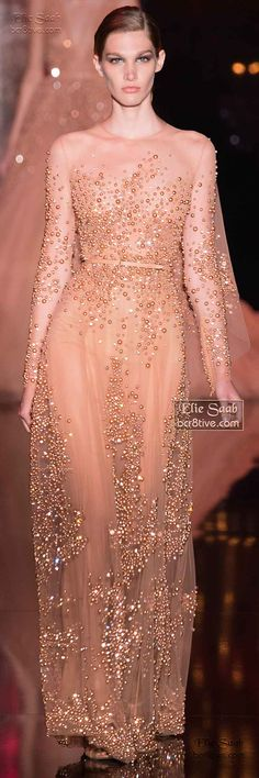Rose Gold evening gown by Elie Saab Fall Winter Haute Couture Couture Fashion, Runway Fashion, Fashion Show, Glamour, Belle Silhouette, Look Formal, Elie Saab Fall, Elie Saab Couture, Moda Fashion