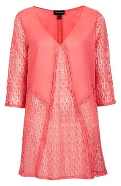 Lace panel cover-up caftan in #coral http://rstyle.me/n/hndcvnyg6