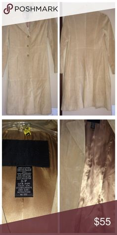 GUESS COLLECTION 💯% Leather & Polyester Jacket A beautiful coat/jacket. Add a little sass to your outfit!  About 3 1/2 feet long, thin lined with what feels and looks like satin on he inside, great condition, dry cleaned & no stains.  Worn four times! I am 5'1 and the coat length is a little below the knee. 💯% Leather & Polyester Jacket (that is what the tag says). Guess Jackets & Coats Trench Coats