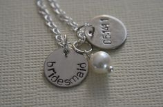 Bridesmaid Stamped Necklace  Maid of honor by LittleMissyKates, $18.00    Cute idea.
