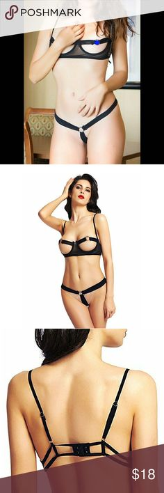 Sexy Cupless Lingerie Set With Metal Ring Accents This super sexy cupless bra and thong lingerie set will make you feel unique,attractive and confident. Great looking, well-made, and comfortable bra set is an absolute must for your wardrobe.  Features  Soft stretchy mesh fabric for comfortable touch and wear? Underwire cups and the rings for shape/support? Hook and eye back closure for perfect fit?  Size: US Size 2-10 and works best for C and D cups  If you have any questions or concerns…