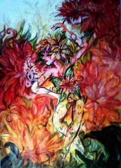 "An original painting from 2011 named ""Regalia - The Faun"" - Acrylic on artpaper - from the series Regalia, a collection of paintings, costume sketches, storyboards and character drawings featuring some of our show characters - dancers, musicians and acrobats from Indonesia, Europe and the USA.The Faun - A supplement character for our Cirque style show Regalia-The Enchanted Forest, performed at the Bali Theater in the Bali Safari Park in 2011."