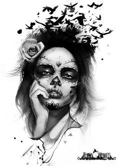 Excelente diseño de catrina con rosa en la oreja; con pájaros saliendo de su cabeza y de su pelo. Su mano se apoya en el mentón y en la comisura de los labios. #santcugat #deysitattoostudio www.deysitattoo.com citasdeysitattoo@gmail.com tlf: 639 327 919 #ideatattoo #ideastatuajes #tattoo #catrina #deysitattoo #design @deysitattoo