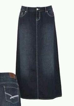 Love long denim skirts