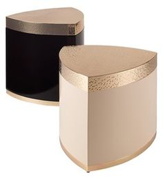 Spila Angolo  Large  Contemporary, Transitional, Metal, Lacquer, Parchment, Wood, Side Table by Natasha Baradaran