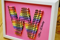 Framed Crayon Letters for kids room Crayon Monogram, Crayon Letter, Monogram Letters, Cute Teacher Gifts, Personalized Teacher Gifts, Teacher Presents, Teacher Stuff, Diy Presents, Diy Gifts