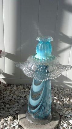 Small Garden Totem from Repurposed Glassware ~ blue fairy perhaps?