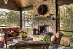 Love the fireplace in this seasonal room.