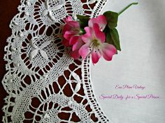 White Crocheted Table Doily Doilie Extra Large by EauPleineVintage