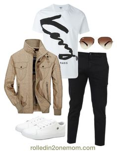 """""""Brown and White"""" by nhessie-agustin on Polyvore featuring Department 5, Kenzo, Jeep Rich, Ray-Ban, men's fashion and menswear"""