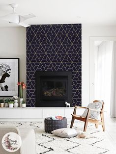 Navy Geometric removable wallpaper Scandinavian wall mural Simple wall decor Peel and stick Removable Reusable Repositionable Foyer Mural, Wall Mural, Wallpaper Fireplace, Geometric Removable Wallpaper, Contemporary Fireplace Designs, Modern Fireplaces, Home Interior, Interior Design, Interior Columns