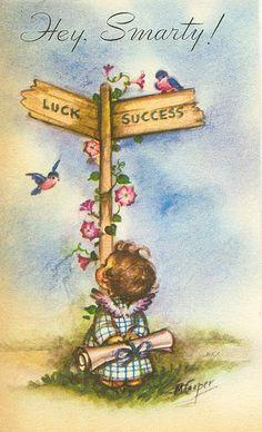 vintage Graduation card, illustration by Marjorie M. Cooper