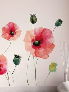 Watercolor Poppies Peel and Stick Wall Decal