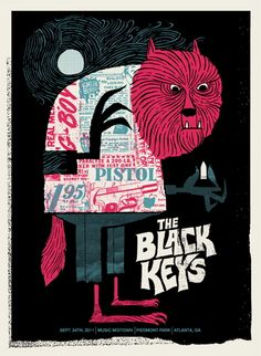 The Black Keys 2011 concert poster by Methane Studios
