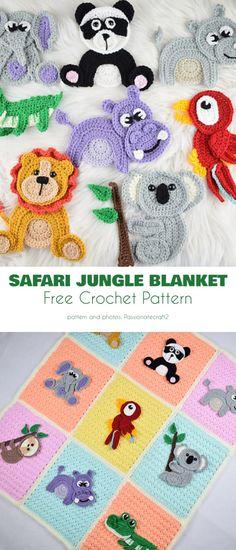 Safari Jungle Trip Free Crochet Patterns - how to crochet chunky blanket Crochet Applique Patterns Free, Crochet Animal Patterns, Stuffed Animal Patterns, Crochet Blanket Patterns, Baby Blanket Crochet, Crochet Animals, Crochet Blankets, Afghan Patterns, Crochet Squares Afghan