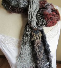 Crochet ScarfBoho Scarf made with Red Heart Boutique by Kitkateden, $25.00