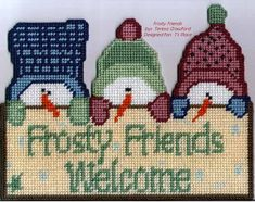 Frosty friends plastic canvas