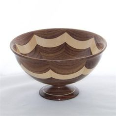 Scalloped Wood Bowl Of Bolivian Rosewood And Rock Maple, Original Lathe-turned…