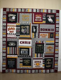 Sew T-Shirt Bonnie's t-shirt memory quilt Quilting Room, Quilting Projects, Quilting Designs, Longarm Quilting, Quilting Tutorials, Quilting Ideas, Jersey Quilt, T-shirt Quilts, Barn Quilts