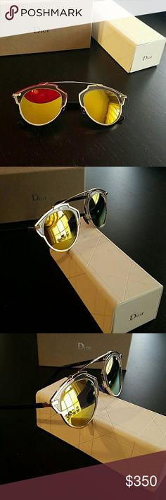 CD Christian Dior So Real Gold Mirror Sunglasses Unisex CD Christian Dior So Real Gold Mirror Sunglasses Christian Dior Accessories Sunglasses