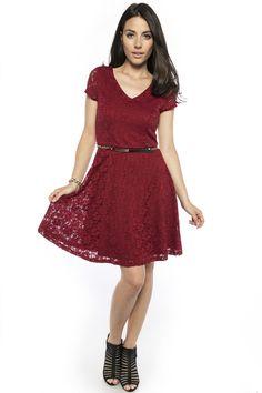 Belted lace skater dress