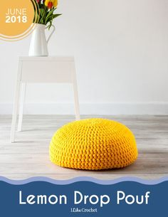 Liven up your living room with this Lemon Drop Pouf crochet pattern