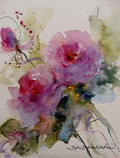 """Paper Roses""  Transparent Watercolor,  Sandra L. Strohschein,   Original  SOLD"