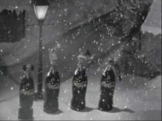 Coca Cola 1959 Christmas Commercial of Christmas Coke Bottles Caroling.