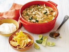 White Chicken Chili Recipe : Patrick and Gina Neely : Food Network. Very easy, using rotisserie chicken and comes together in an hour or so. Easy to tailor to tastes too Chicken Snacks, Chicken Recipes, Food Network Recipes, Cooking Recipes, Healthy Recipes, Cooking Tips, Weeknight Recipes, Cooking Classes, Kitchen Recipes