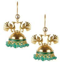 Buy Lotus Green Mayur Jhumki 113JE41 online - JaipurMahal ethnic online store  Rajasthan jewellery  Handicraft   gift shop   Handmade products  Wedding gift online   Jaipur online for India  Rajasthani Jewellery, Crafts
