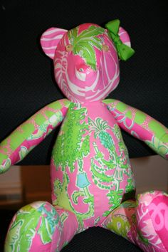 Bear made Lilly pulitzer fabric. $50.00, via Etsy.