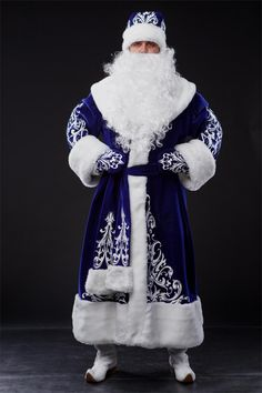 Costume Christmas New Year Ded Moroz Santa Claus Color Red Blue Size M-5XL