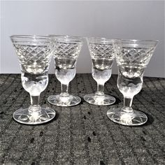 LIQUEUR/CORDIAL FOOTED GLASSES IN LEAD CRYSTAL-CLEAR 4 PIECES Forest Hill, Cordial, Selling On Ebay, Toronto, Real Estate, Plant, Crystals, Glasses, Tableware