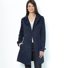 Showerproof Cotton Double-Breasted Trench Coat