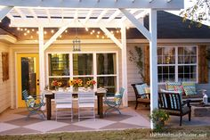 Simple yet beautiful! Perfect completion to the patio area. Maybe with some ivy and grapes growing across to create a natural canopy?