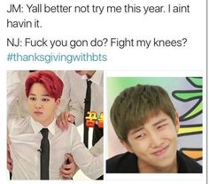 Jimin looks pissed and hit while Rapmon looks like an international troll