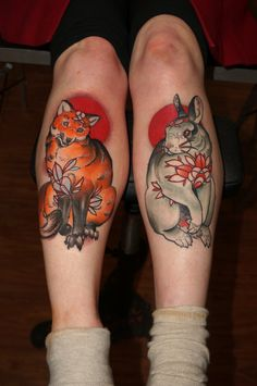 brother fox and brother rabbit tattoo on legs