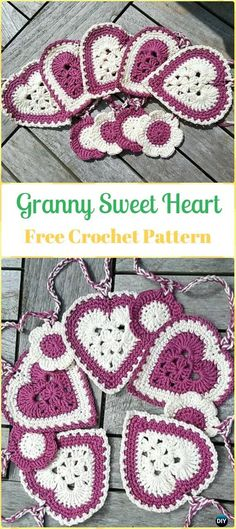Crochet Granny Sweet Heart Free Pattern-Crochet Heart Applique Free Patterns