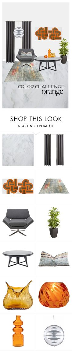 """""""Color Challenge:  orange"""" by pheinart ❤ liked on Polyvore featuring interior, interiors, interior design, home, home decor, interior decorating, ZEKI, Nuevo, Pier 1 Imports and Serena & Lily"""
