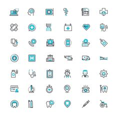 Healthcare and Medicine Icon set Free PSD