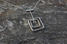Dangly Squares Necklace (MDn07-1) - Karen Landrigan Sterling Silver Necklaces, My Drawings, Dog Tag Necklace, Squares, Delicate, Earrings, Stuff To Buy, Jewelry, Sterling Necklaces