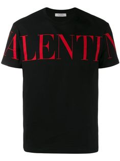Shop Valentino Black T-shirt from stores. Crewneck T-shirt from Valentino in black cotton jersey with red logo. Valentino T Shirt, Valentino Black, Cotton Logo, Printed Cotton, My T Shirt, Neck T Shirt, T Shirt Logo Printing, Black Cotton