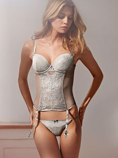 What we have here is a total romantic. Sheer mesh, delicate lace and, of course, those curves. | Victoria's Secret Lace Bustier