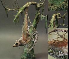Flying Fox original handmade OOAK clay art by creaturesfromel