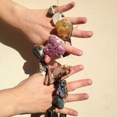 Quartz rings by Adina Mills  I wouldn't wear them all, but one or two would be pretty!