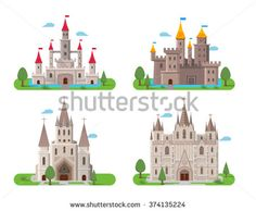 Medieval ancient castle buildings flat icons set isolated vector illustration - stock vector