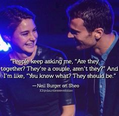 Shailene Woodley and Theo James! I ship it! Divergent Hunger Games, Divergent Fandom, Divergent Trilogy, Divergent Insurgent Allegiant, Divergent Quotes, Tris And Four, Veronica Roth, Shailene Woodley, Theo James