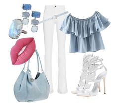 """""""blue&white"""" by fearymelek on Polyvore featuring Frame Denim, Chicnova Fashion, ADORNIA, Chico's, New Look, Lime Crime and Giuseppe Zanotti"""